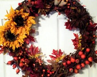 Clearance!!! Thanksgiving Wreath, Fall Wreath-Fall decor, autumn, home decor, sunflower, grapevine, pipe berries, leaves, pumpkins, corn