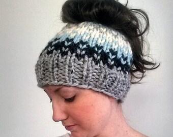 50% OFF SALE Knit Ponytail Hat, Knit Bun Hat, Knit Messy Bun Hat, Grey Knit Hat, Fair Isle Bun Hat