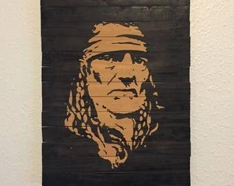 Handmade Willie Nelson Wood Wall Art