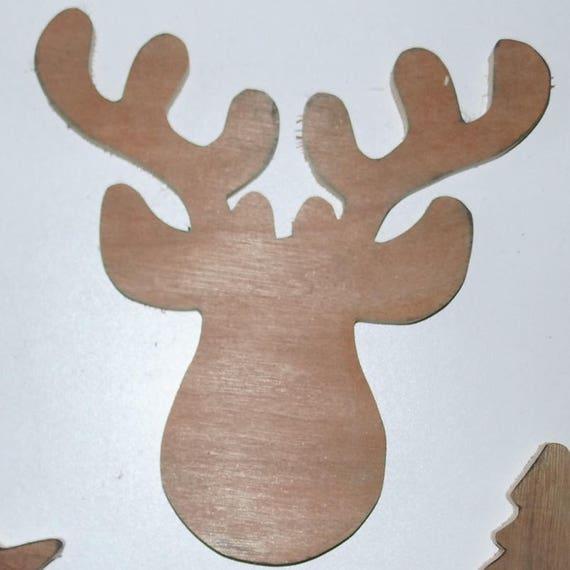 Renne de noel cerf de noel toiles sapin en bois brut - Renne de noel en bois ...