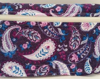 Purple Paisley Print Fanny Pack