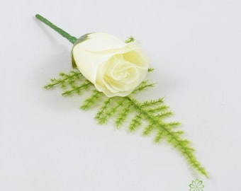 Artificial Wedding Flowers, Ivory Cream Single Rose Buttonhole