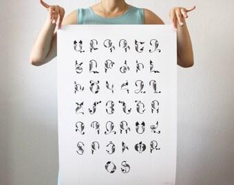 Poster 50x70cm Alphabet Trchnakir •