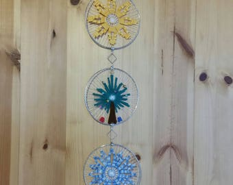 Triptych of Christmas - star, tree and snowflake