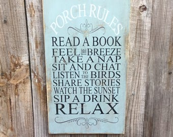 Porch rules wood sign,Patio rules sign,Wood Sign,Porch Sign,Outdoor Sign,front porch Decor,Patio Decor,outdoor living,outdoor,shabby chic