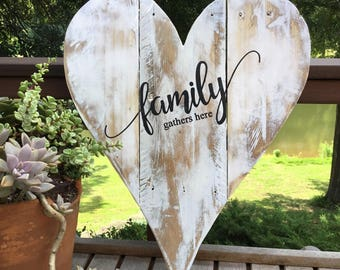 Family gathers here,Pallet wood,Heart Wall Decor,Family quote,farmhouse sign,home sign,Family wood sign,shabby chic sign,pallet wood art