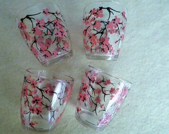 Set of 4 Juice Glasses - 1950's Kitsch - Dogwood Blossoms - Old Fashion Kitchen Glass