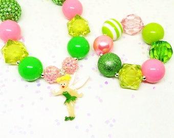 Tinkerbell chunky necklace bracelet jewelry set - Girls bubblegum jewelry set
