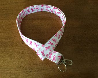 Breast Cancer Awareness Lanyard, ID Holder, Badge Holder, Cute Lanyard, Pink Ribbon Lanyard, Support,  Key Lanyard, Fabric Lanyard