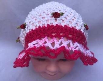 Baby hat, Girls hat, Children hat, Knitted hat, Winter hat, Fall / Autumn hat, Embroidered hat, Flower hat, Kids hat, Slouchy Toddler Hat