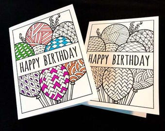 Happy Birthday Card with Balloons - PDF Zentangle Coloring Page