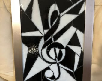 Music, Musical Symbol, Stained Glass, Suncatcher Design,Handcrafted Glass Sun Catcher,Fragmented Art,Milky Stained Glass,Tiffany foil method
