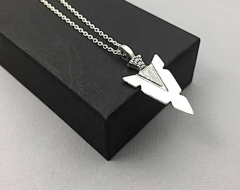 Mens Arrowhead Necklace on Sterling Silver Chain,Pendant, Silver Arrowhead Necklace, Arrowhead Jewelry, Mens necklace jewelry gifts,
