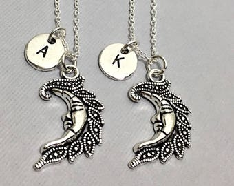 2  Best friend Necklaces, matching friendship necklaces, custom, personalized,initial,Best friend jewelry, bff necklaces for 2,moon gift BFF