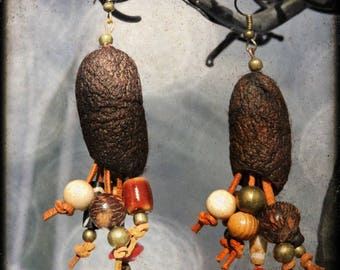 Nomad - silk cocoons - leather - seeds, Horn, wood and metal beads earrings