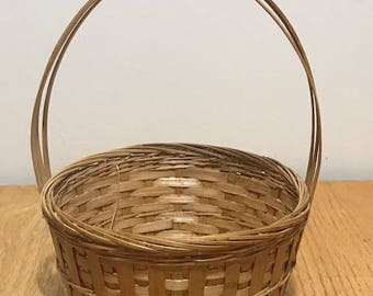 Vintage Small Basket with Handle Flower Girl Bamboo and Straw Basket Easter egg hunting
