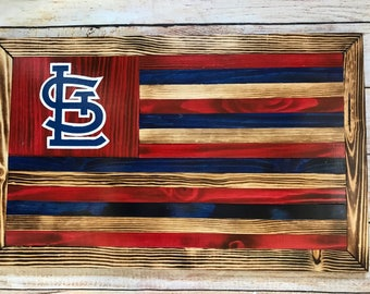 Custom St. Louis Cardinals wooden flag wall hanging - 4 options - hand-painted