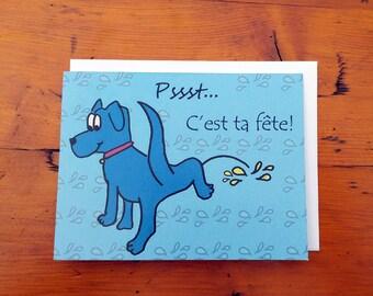 Carte de fête humoristique - ''Psst... C'est ta fête!''
