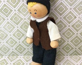 Cute Little Vintage European Wooden Boy Doll