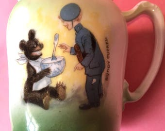 """Precious 1905 Era Porcelain Cream Pitcher with """"Buddy Tucker and Buster Brown Bear"""""""