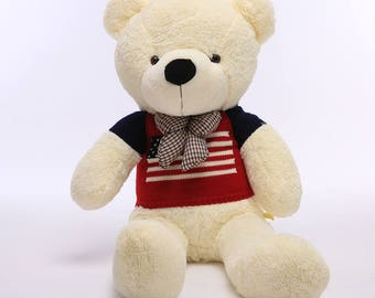 "Off-white Teddy Bear 55"" Soft Plush Toy Stuffed Animal Dressed with US Flag Sweater & Plaid Bow Tie Perfect Gift for Children Adult ID:3402"