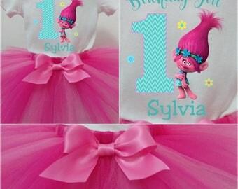 Poppy Troll Birthday TuTu, Poppy Birthday Tee, Poppy Troll Birthday, Troll Birthday TuTu Set, Girls Troll Birthday