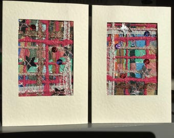 Set of 2 highly unique handmade greeting cards, for any occasion, paper and fabric collage with machine embroidery and sequins, textile art