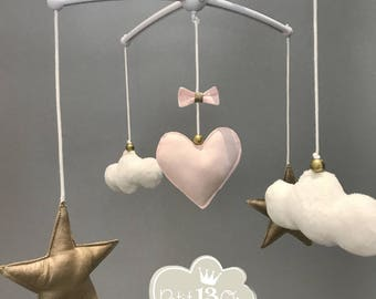 Pink blush and gold heart musical mobile