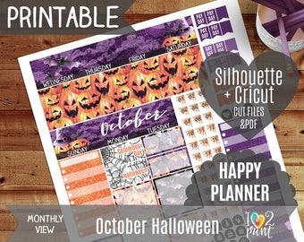 October Halloween Monthly View Stickers, Printable Planner, Happy Planner 2017, Watercolor October Stickers, Halloween Monthly, CUT FILES