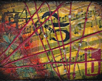 "Giclee Art Print, canvas, mixed media, music, ""Altar"", yellow, red, wall decor"