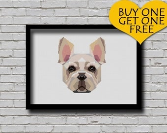 Cross Stitch Pattern French Bulldog Pet Pattern Modern Home Decor Dog Face Geometric E Pattern Polygonal Cross Stitch Pattern