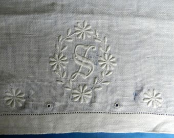 """Vintage Tea Towel or Hand Towel with Embroidered """"S"""" - White on White Embroidery"""