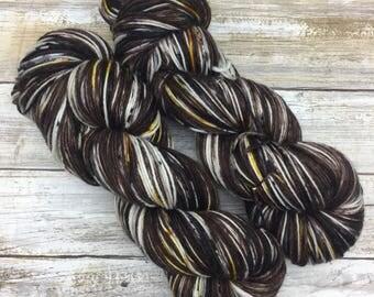 Hand Dyed Yarn | S'Mores Around The Fire | Fluffy Sock | 75 Superwash Merino/25 Nylon | 4-Ply