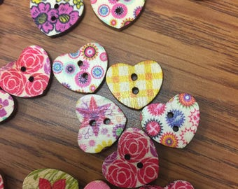 Hearts two hole Craft Buttons, Crocheting, Knitting.