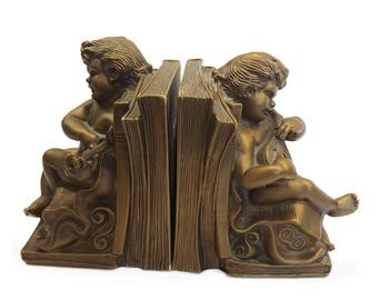 Universal Statuary Corp. Putti/Cherub/Angel Chalkware/Plaster Bookends (#995, W Manotta Sculp, 1965, Chicago) Playing a Lute and Lyre