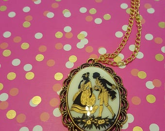 Victorian Couple Cameo Necklace