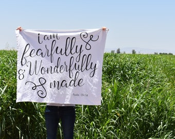 I am fearfully and wonderfully made swaddle, knit swaddle, baby swaddle, Bible verse swaddle, receiving blanket, baby blanket, Psalm 139:14