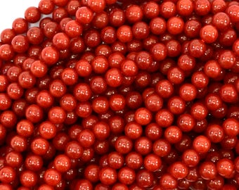"4mm red coral round beads 15.5"" strand 39089"