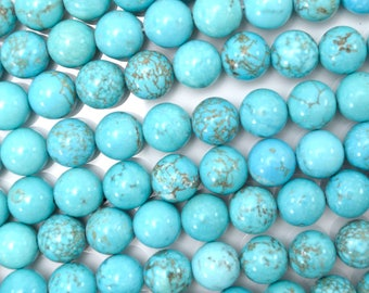 """8mm blue turquoise round beads 16"""" strand 38572"""