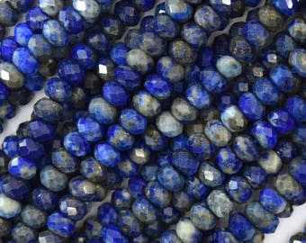 """4.5 - 5mm natural faceted blue lapis lazuli rondelle beads 15.5"""" strand 39617"""