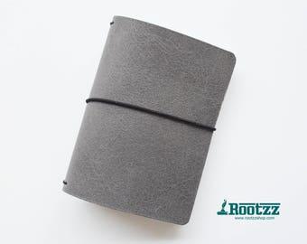 A6 Traveler's notebook grey leather - midori like- fauxdori