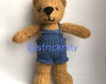 Knitted teddy bear for baby, newborn photography props