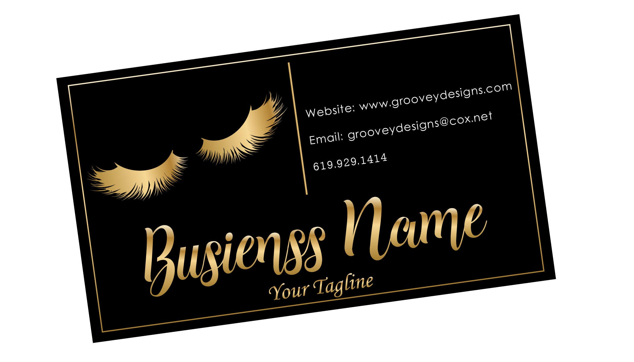 business card design lash black gold lashes business card