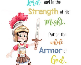 Armor of God Bible verse quote poster 11x14 digital download