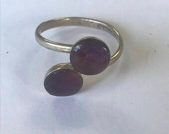 Red-Purple Two Stone Adjustable Handmade Ring