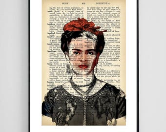 Frida Kahlo Art Upcycled Dictionary Print Frida Kahlo Print Dictionary Page Gift for Her Printable Poster Frida Kahlo Poster Dictionary Art