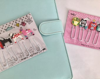 Set of 4 personalized paperclips models horses or kawaii owls