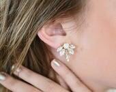 DAISY opal and crystal statement bridal studs, wedding art deco glamorous earrings