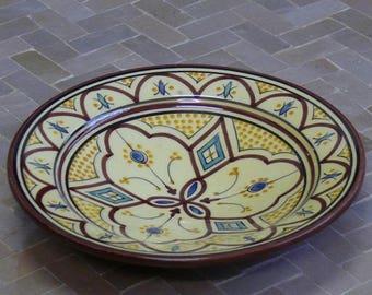 Moroccan ceramic plate Metal deco Orient handicraft Morocco, Ø 20 cm