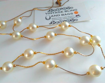 90cm vintage 1980s necklace, 1980s necklace, faux pearl bead necklace, long necklace, vintage necklace, goldtone & pearl necklace, pearl